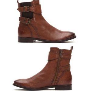 Frye Brown Leather Buckle Boho Booties